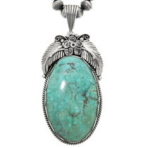 Large Genuine Green Turquoise Pendant 39169