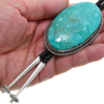 Navajo Sterling Silver Large Turquoise Bolo Tie 39182
