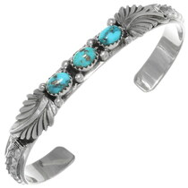 Natural Turquoise Silver Navajo Bracelet 39200