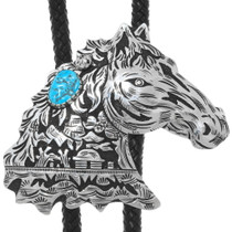 Navajo Sterling Silver Overlay Horse Bolo Tie 32991