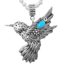 Navajo Sterling Silver Hummingbird Pendant Necklace 39203