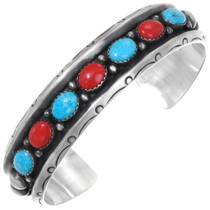 Vintage Navajo Turquoise Coral Cuff Bracelet 39213