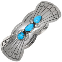 Navajo Turquoise Silver Hair Barrette 39214