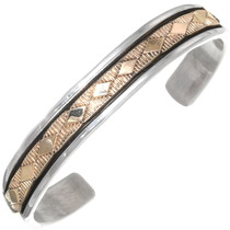 Vintage 14K Gold Silver Navajo Cuff Bracelet 39224