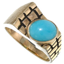 Vintage Turquoise 14K Gold Mens Ring 39225