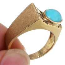 14K Gold Turquoise Ring 39225