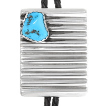 Vintage Navajo Natural Turquoise Silver Bolo Tie 39226