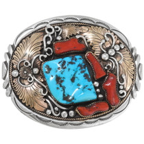 Large Sleeping Beauty Turquoise Coral Silver Gold Belt Buckle 39228