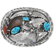 Turquoise Silver Bear Claw Belt Buckle 39229