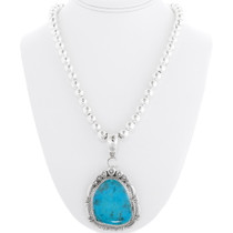 Navajo Turquoise Pendant Sterling Silver 39231