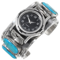 Old Pawn Turquoise Sterling Silver Watch Cuff 39235