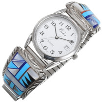 Vintage Inlaid Turquoise Mens Watch 39236