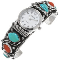 Old Pawn Turquoise Coral Silver Watch 39237