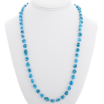 Natural Turquoise Silver Bead Necklace 39242