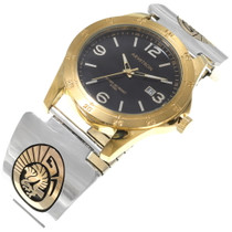 Sterling Silver Gold Navajo Eagle Watch 39243