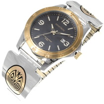 Silver Gold Navajo Man In the Maze Mens Watch 39244