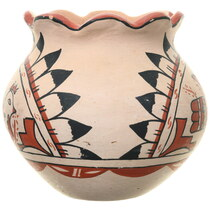 Hand Painted Rain Bird Pottery Fluted Rim 39252