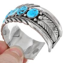 Sterling Silver Navajo Style Kingman Turquoise Bracelet 39254