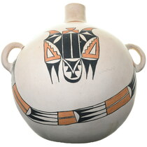 Large Vintage Polychrome Canteen Pottery 39258