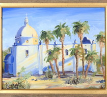 Spanish Mission Church Painting Framed 39269