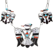 Native American Zuni Inlay Necklace Sterling Silver 39278