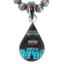 Micro Inlay Turquoise Shell Pendant Set 39281