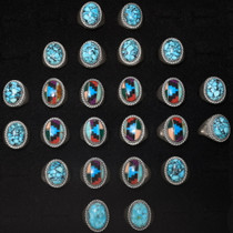 Navajo Turquoise Mens Rings Wholesale Lot 24 Count