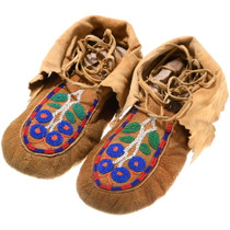 Vintage Indian Floral Beaded Moccasins 39290