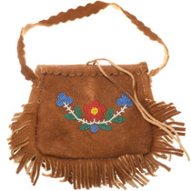 Vintage Fringed Beaded Leather Bag 39292