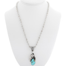 Natural Turquoise Sterling Silver Navajo Pendant 39299