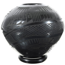 Hand Coiled Black Clay Pot 39307