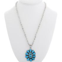 Kingman Turquoise Sterling Silver Navajo Pendant 39315