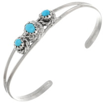 Navajo Turquoise Silver Baby Bracelet 39323