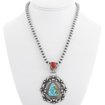 Kingman Red Spiderweb Turquoise Pendant 39334