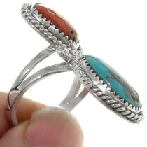 Bisbee Turquoise Coral Ladies Ring 39642