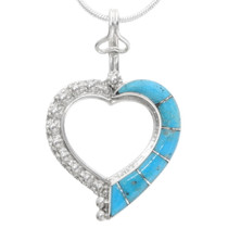 Sterling Silver Turquoise Heart Pendant 39340