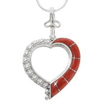 Sterling Silver Coral Heart Pendant 39342