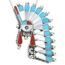 Zuni Sunface Feather Headdress Pendant 39343