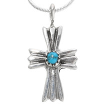 Turquoise Silver Navajo Cross Pendant 39344
