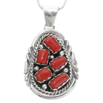 Sterling Silver Red Coral Pendant 39348
