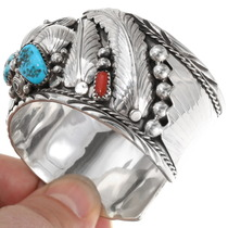 Turquoise Coral Genuine Bear Claw Mens Cuff 39350