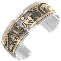 Navajo Gold Silver Storyteller Cuff Bracelet 39353