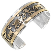 Navajo Deer Hunter Storyteller Gold Cuff Bracelet