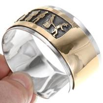 Sterling Silver Overlay 14K Gold Fill Storyteller Cuff 39356