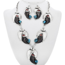 Navajo Bear Claw Turquoise Coral Y Necklace Set 33044