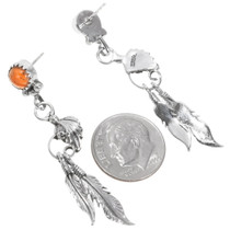 Native American Silver Feather Earrings 39359