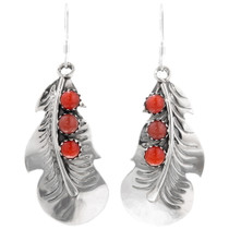 Native American Sterling Silver Coral Feather Earrings 39361