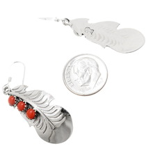Authentic Navajo Genevieve Francisco Coral Silver Earrings 39361
