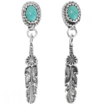 Green Turquoise Silver Feather Earrings 39364
