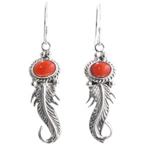 Sterling Silver Navajo Feather Earrings 39368